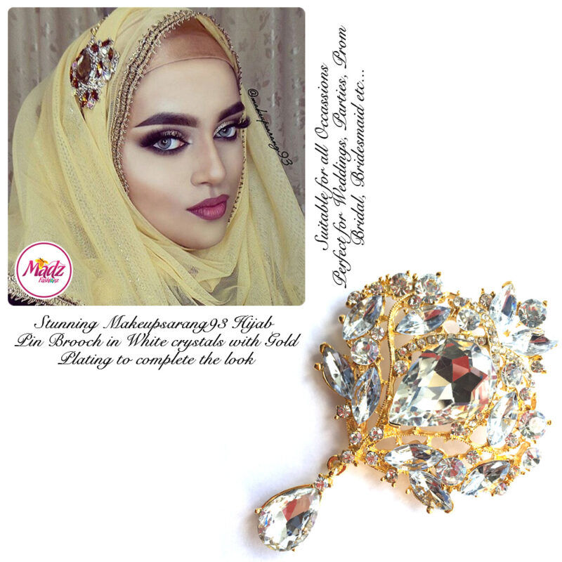 Madz Fashionz USA: Makeupsarang93 Elegant Brooch Hijab Pin Gold White