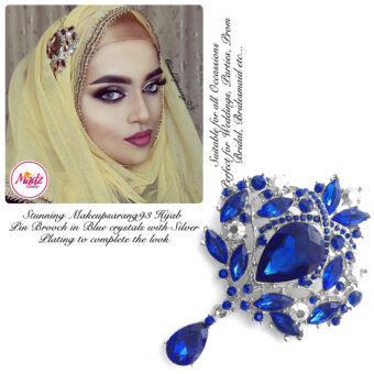 Madz Fashionz USA: Makeupsarang93 Elegant Brooch Hijab Pin Silver Royal Blue
