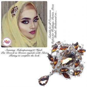Madz Fashionz USA: Makeupsarang93 Elegant Brooch Hijab Pin Silver Brown