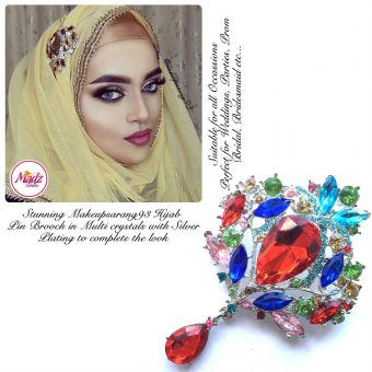 Madz Fashionz USA: Makeupsarang93 Elegant Brooch Hijab Pin Silver Multicolor