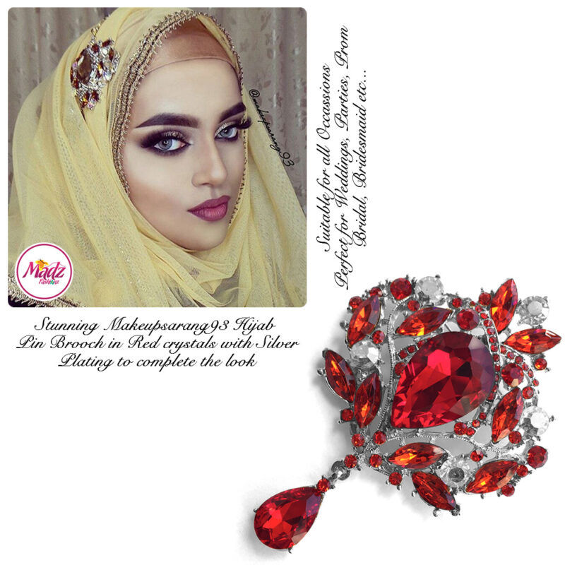 Madz Fashionz USA: Makeupsarang93 Elegant Brooch Hijab Pin Silver Red