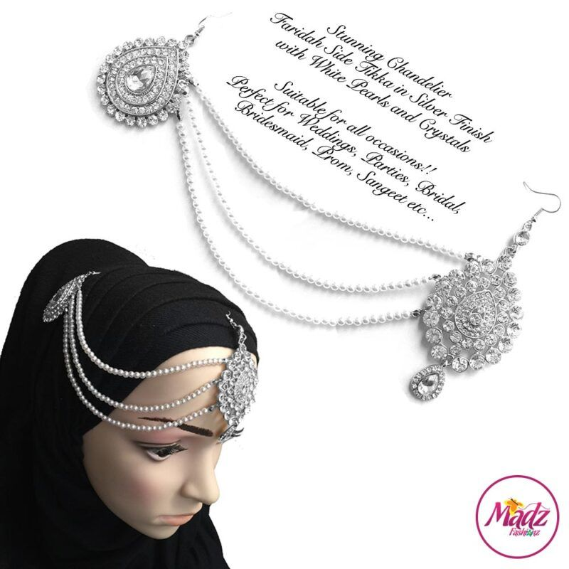 Madz Fashionz USA: Farida Silver White Bridal Side Tikka Headpiece