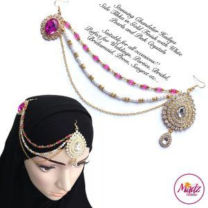 Madz Fashionz USA: Hadiya Gold Pink White Pearl Side Tikka Headpiece