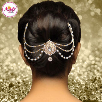Madz Fashionz USA: Mehrani Bridal Hair Bun Headpiece Jodha Gold Juda White Joora 2