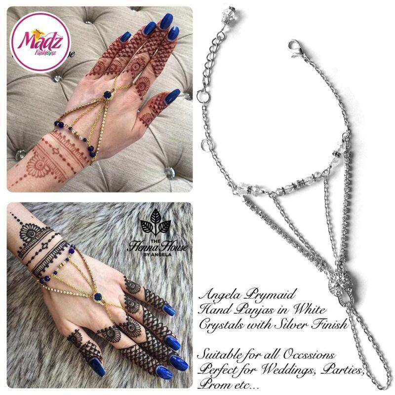 Hennabyang Silver White Cuff Bracelet Hand Jewellery Panjas - MadZ FashionZ USA