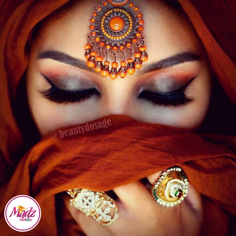 Madz Fashinz USA: Beautydosage Vintage Bridal Maang Tikka Gold Brown Champagne