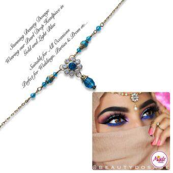Madz Fashionz USA BeautyDosage Pearl Drop Headpiece Gold Finish Light Blue