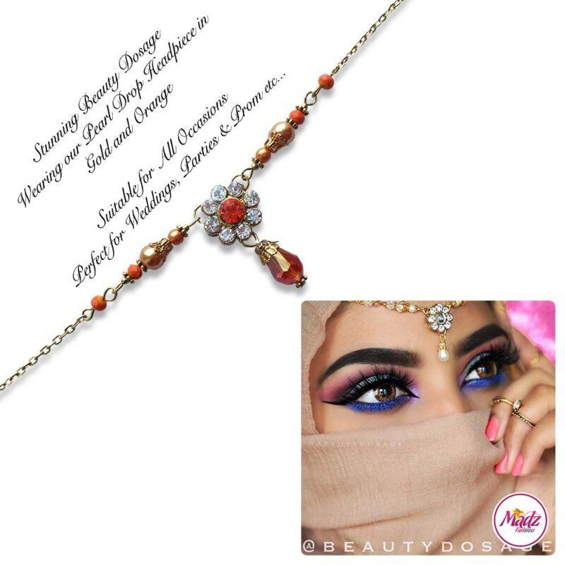Madz Fashionz USA BeautyDosage Pearl Drop Headpiece Gold Finish Orange