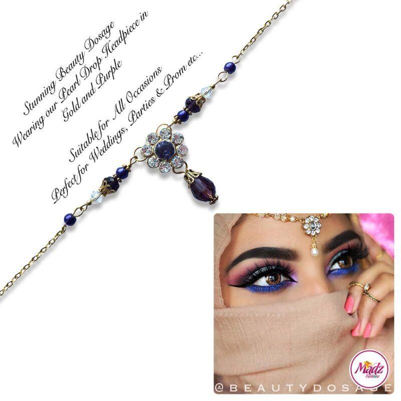 Madz Fashionz USA BeautyDosage Pearl Drop Headpiece Gold Finish Purple
