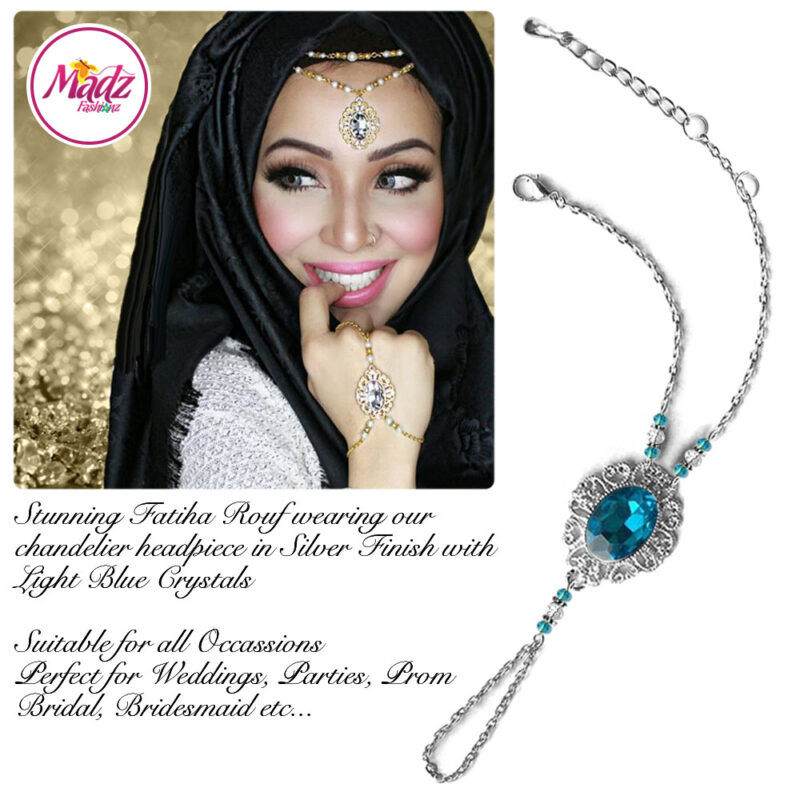 Madz Fashionz USA Fatiha World Chandelier Handpiece Slave Bracelet Silver and Light Blue