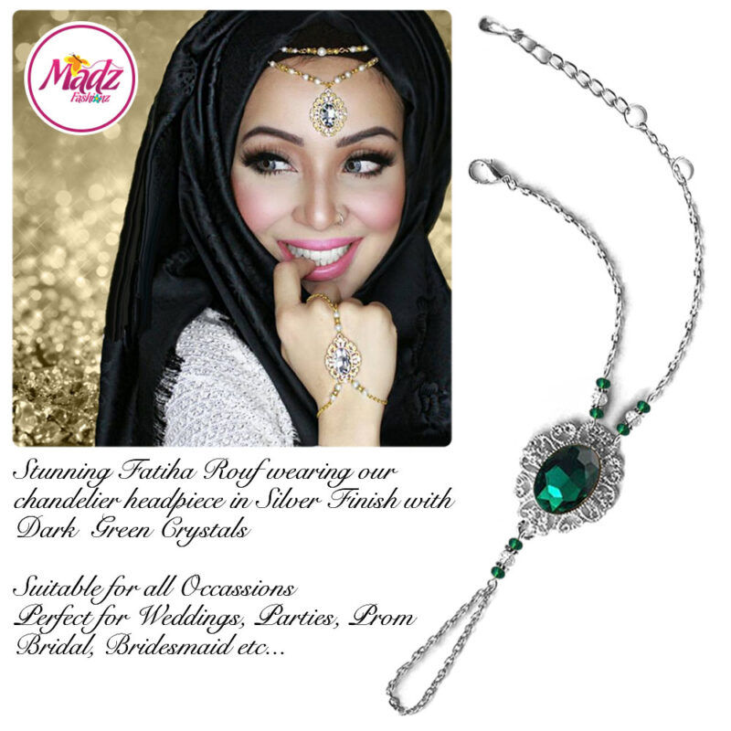 Madz Fashionz USA Fatiha World Chandelier Handpiece Slave Bracelet Silver and Dark Green