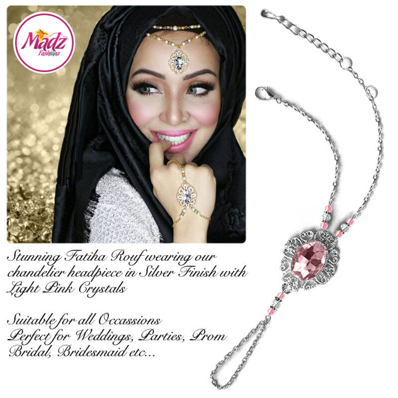 Madz Fashionz USA Fatiha World Chandelier Handpiece Slave Bracelet Silver and Light Pink