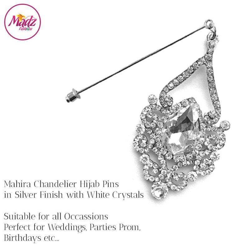 Madz Fashionz USA: Mahira Exquisite Nawab Bridal Hijab Pins, Hijab Jewels Silver White