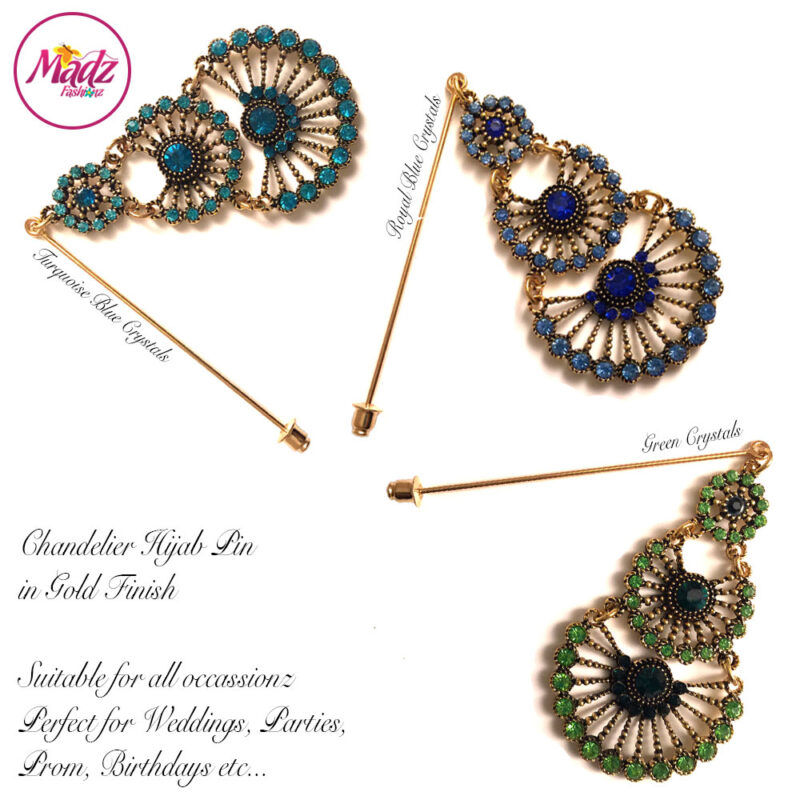 Madz Fashionz USA: Mannat Chandelier Hijab Pins, Hijab Jewels Gold