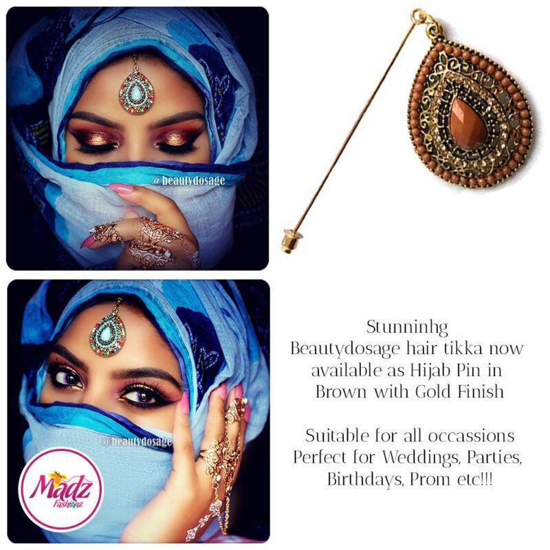 Madz Fashionz USA: Beautydosage Hijab Pin Hijab Jewels Stick Pins Gold Brown