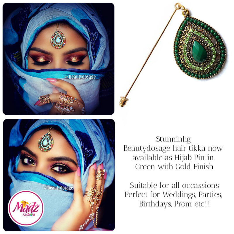 Madz Fashionz USA: Beautydosage Hijab Pin Hijab Jewels Stick Pins Gold Green