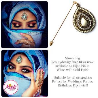 Madz Fashionz USA: Beautydosage Hijab Pin Hijab Jewels Stick Pins Gold white