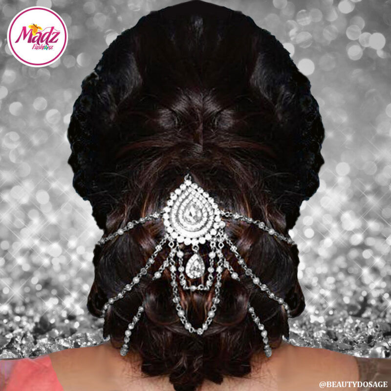 Madz Fashionz USA: Beautydosage Bridal Hair Bun Headpiece Jodha Silver