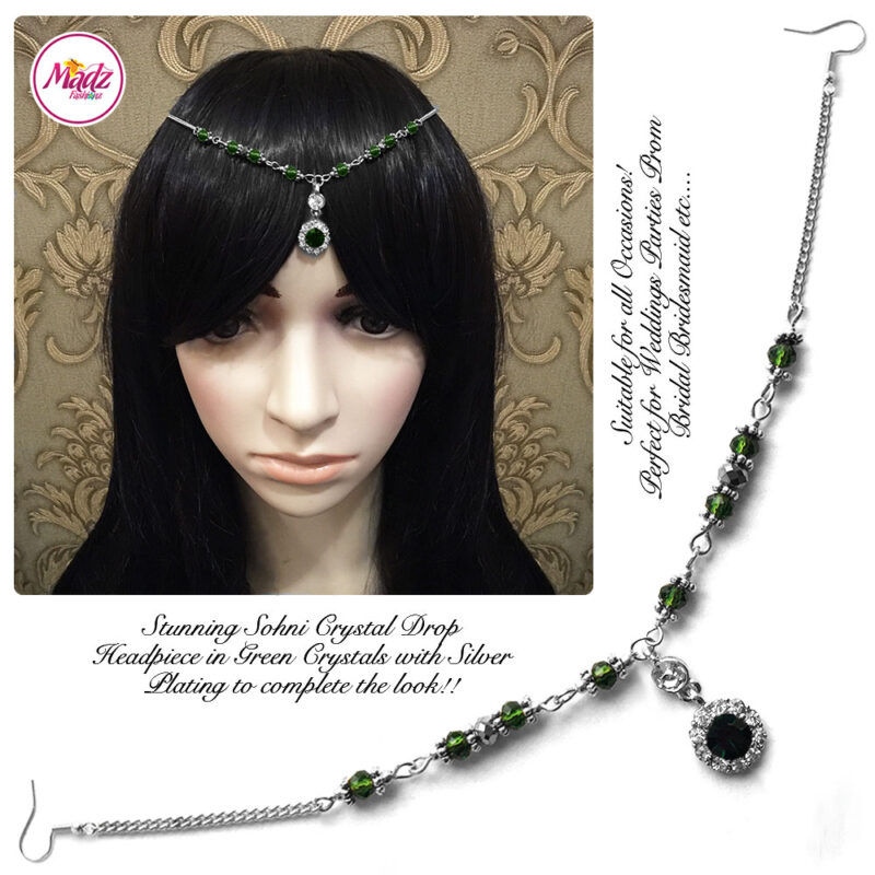 Madz Fashionz USA: Sohni Crystal Matha Patti Headpiece Silver Green