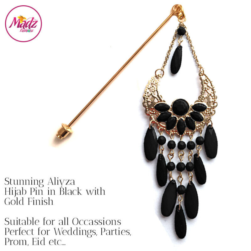 Madz Fashionz USA: Aliyzah Hijab Pin Hijab Jewels Stick Pins Gold Black
