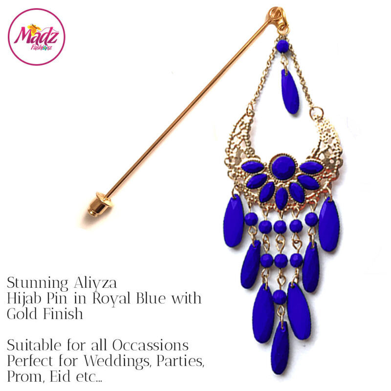 Madz Fashionz USA: Aliyzah Hijab Pin Hijab Jewels Stick Pins Gold Royal Blue