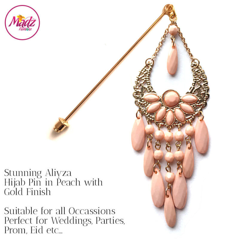 Madz Fashionz USA: Aliyzah Hijab Pin Hijab Jewels Stick Pins Gold Peach