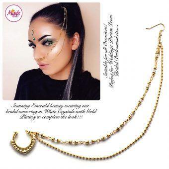 Madz Fashionz USA: Emeraldxbeauty Crystal Bridal Indian Nath Nose Ring Bollywood Indian Gold White