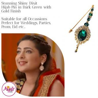Madz Fashionz USA: Shiny Dixit Chandelier Hijab Pin Stick Pin Hijab Jewels Zee Tv ZKM Gold Dark Green