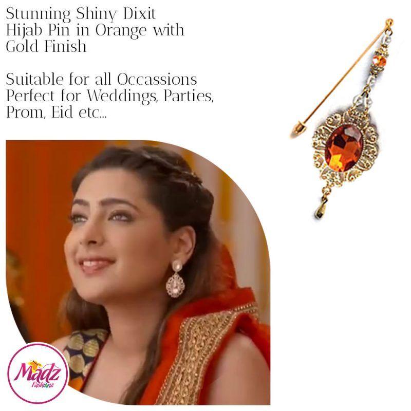 Madz Fashionz USA: Shiny Dixit Chandelier Hijab Pin Stick Pin Hijab Jewels Zee Tv ZKM Gold Orange