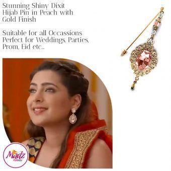 Madz Fashionz USA: Shiny Dixit Chandelier Hijab Pin Stick Pin Hijab Jewels Zee Tv ZKM Gold Peach