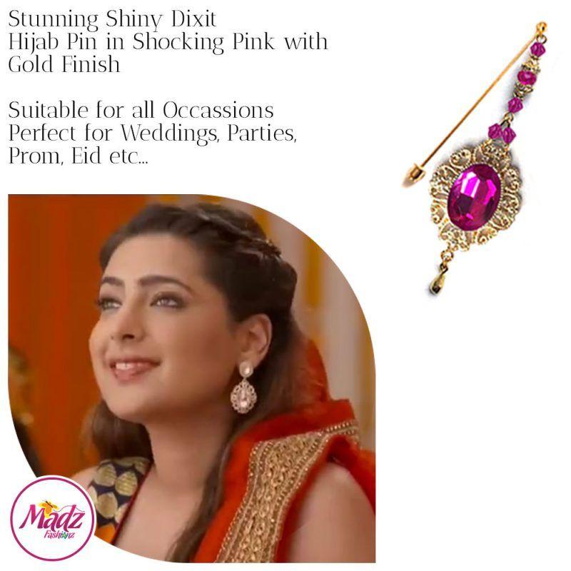 Madz Fashionz USA: Shiny Dixit Chandelier Hijab Pin Stick Pin Hijab Jewels Zee Tv ZKM Gold Shocking Pink