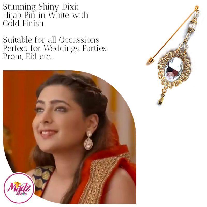 Madz Fashionz USA: Shiny Dixit Chandelier Hijab Pin Stick Pin Hijab Jewels Zee Tv ZKM Gold White