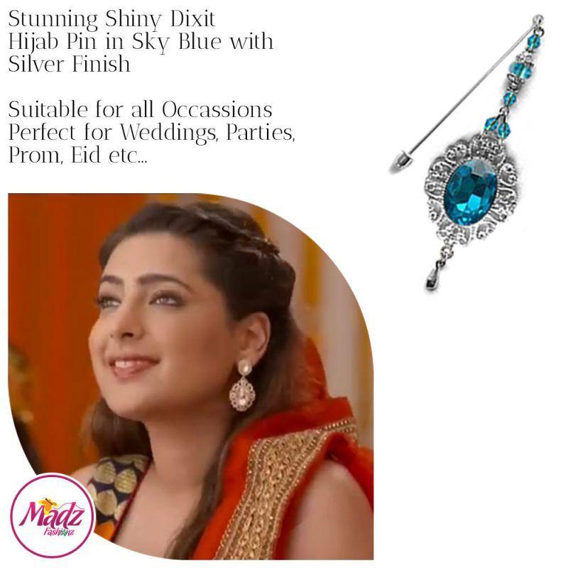 Madz Fashionz USA: Shiny Dixit Chandelier Hijab Pin Stick Pin Hijab Jewels Zee Tv ZKM Silver Sky Blue