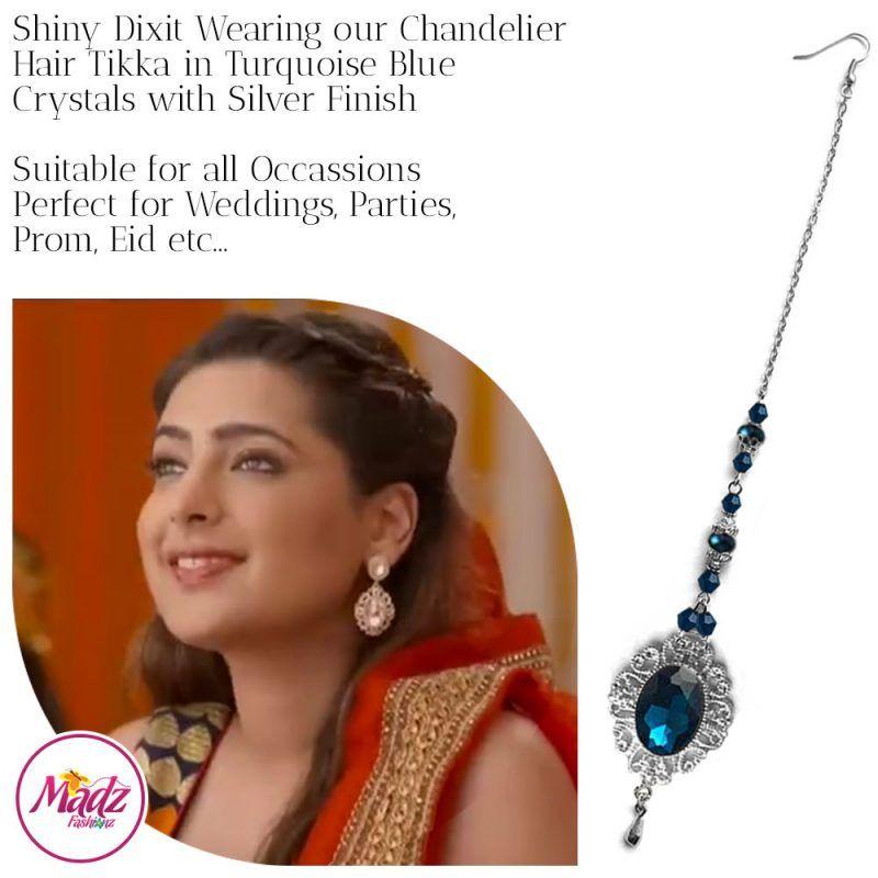 Madz Fashionz USA: Shiny Dixit Chandelier Maang Tikka Hair Tikka Zee Tv ZKM Silver Turquoise Blue