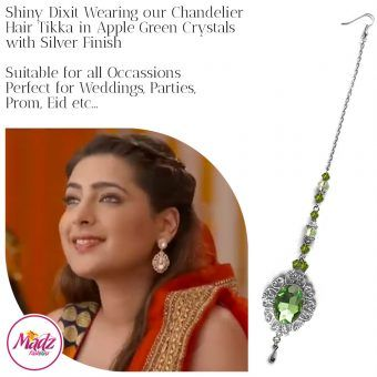 Madz Fashionz USA: Shiny Dixit Chandelier Maang Tikka Hair Tikka Zee Tv ZKM Silver Apple Green