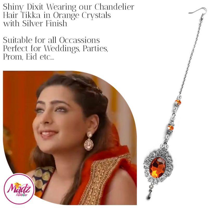 Madz Fashionz USA: Shiny Dixit Chandelier Maang Tikka Hair Tikka Zee Tv ZKM Silver Orange