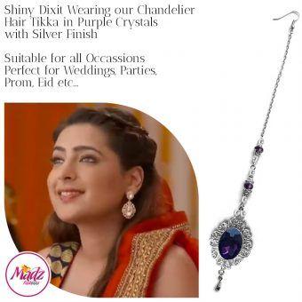 Madz Fashionz USA: Shiny Dixit Chandelier Maang Tikka Hair Tikka Zee Tv ZKM Silver Purple