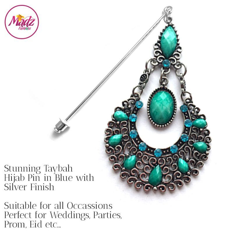 Madz Fashionz USA: Taybah Hijab Pin Hijab Jewels Stick Pins Silver Sky Blue