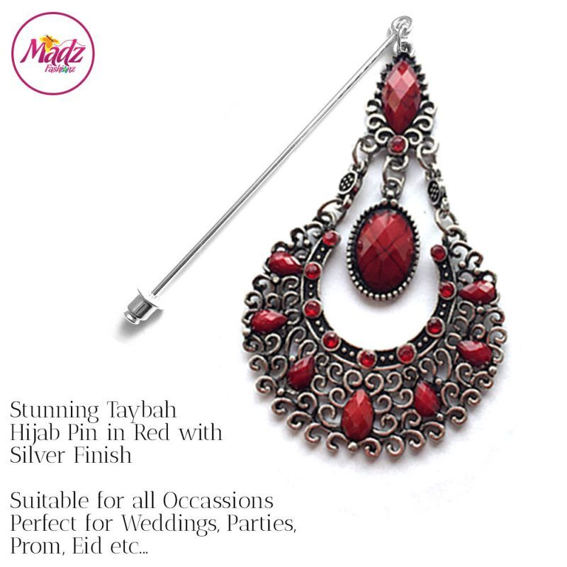 Madz Fashionz USA: Taybah Hijab Pin Hijab Jewels Stick Pins Silver Red