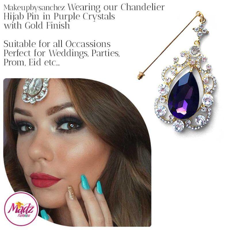 Madz Fashionz USA: Makeupbysanchez Chandelier Drop Hijab Pin Stick Pin Hijab Jewels Hijab Pins Gold Purple