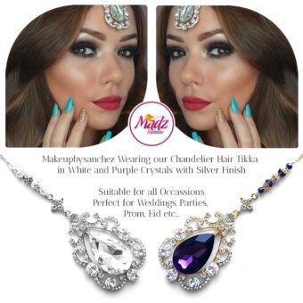 Madz Fashionz USA: Makebysanchez Delicate Crystal Maang Tikka Headpiece Gold Purple Silver White