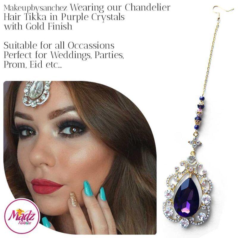 Madz Fashionz USA: Makebysanchez Delicate Crystal Maang Tikka Headpiece Gold Purple