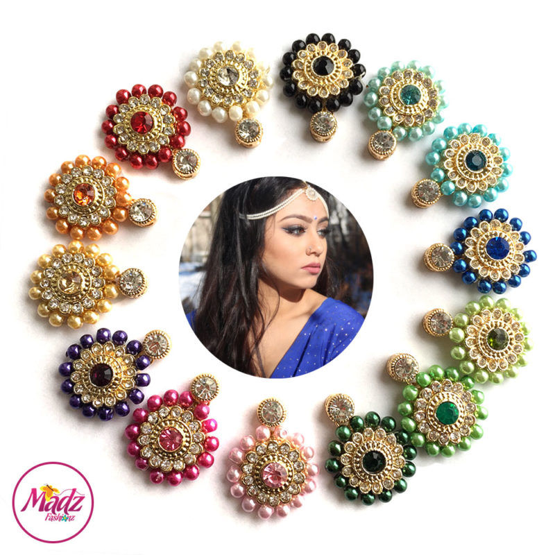 Madz Fashionz USA Sanya Ratanpal Kundan Headpiece Matha Patti Gold Pearled Black Blue Navy Green Mehndi Pink Purple Golden Orange Red White