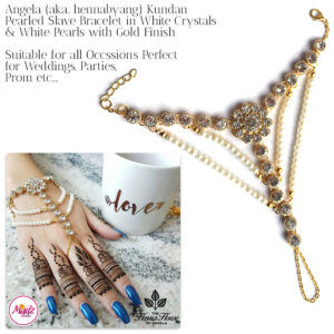 Madz Fashionz USA: Hennabyang Angela Traditional Kundan Pearled Hand chain Slave Bracelet Gold white bridal 2