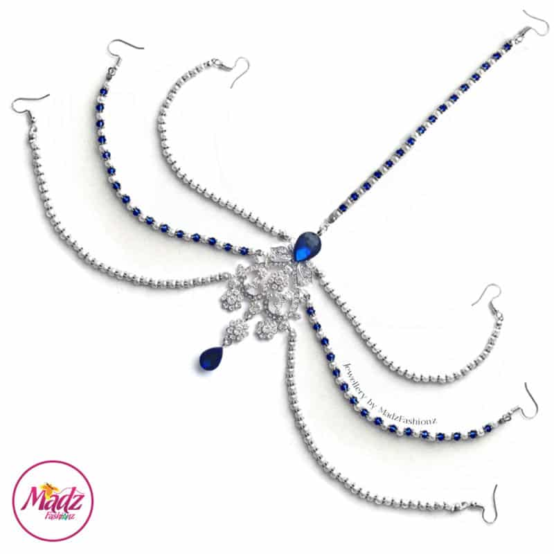 Madz Fashionz USA: Romy Ahmed Bridal Headpiece 10 Head chain Matha Patti Silver Royal Blue