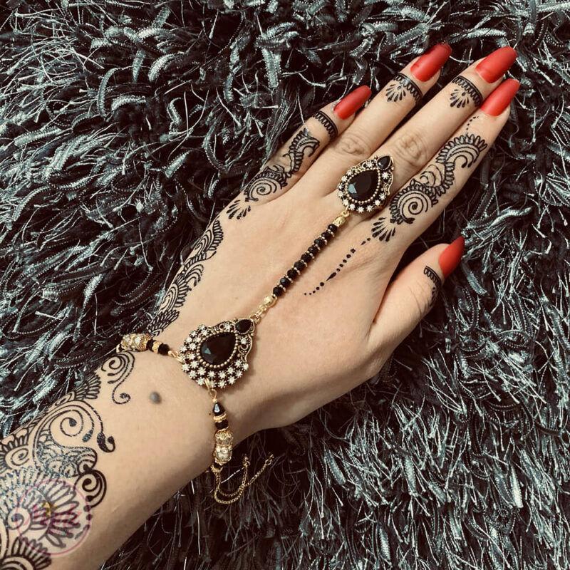Black hand chain , Slave bracelet , Bridal hand piece - Madz Fashionz USA