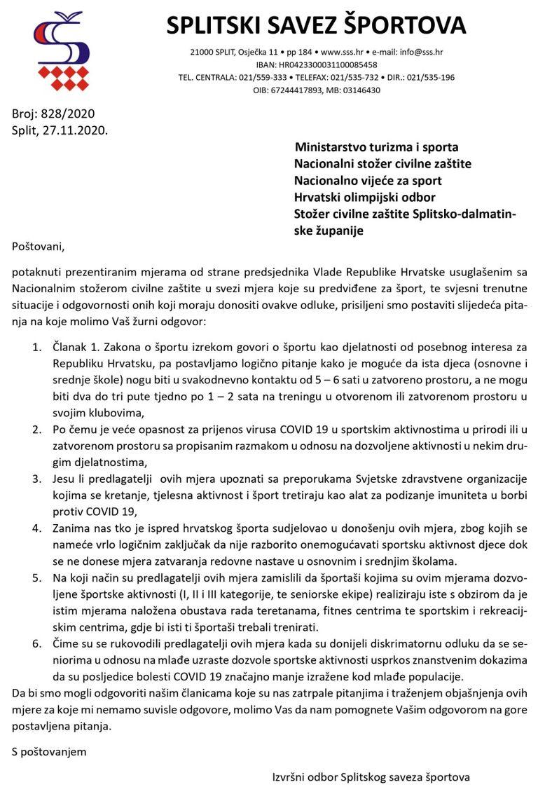 Dopis Splitskog saveza športova institucijama RH od kojih se traže odgovori