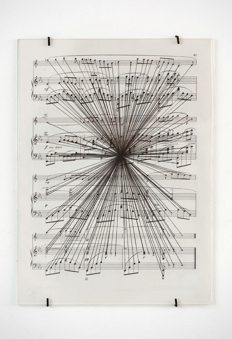 Everything to e, 2012, ink, found sheet music