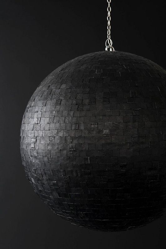 Metal Ball, 2011, leather, styrofoam, mirrorball motor,