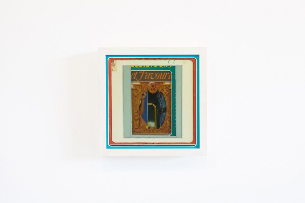 Shepard song, 2013, cut up record sleaves, glass, wood, 33x33x9 cm